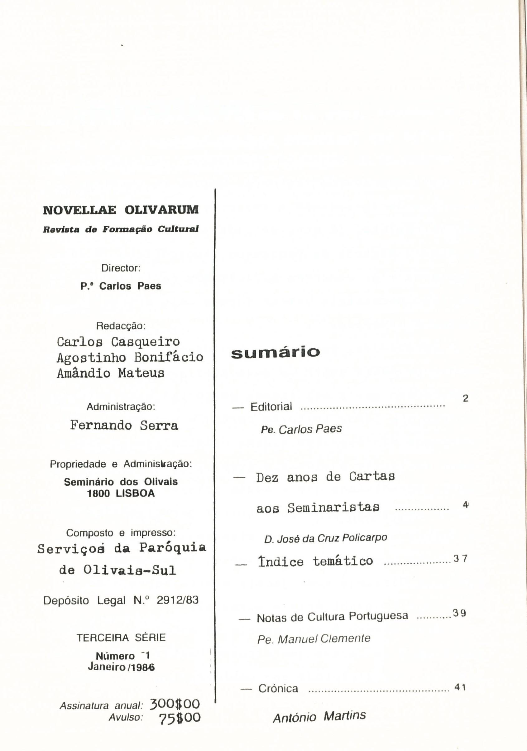 Revista Novellae Olivarum, nº 11 - Janeiro de 1986 (índice)
