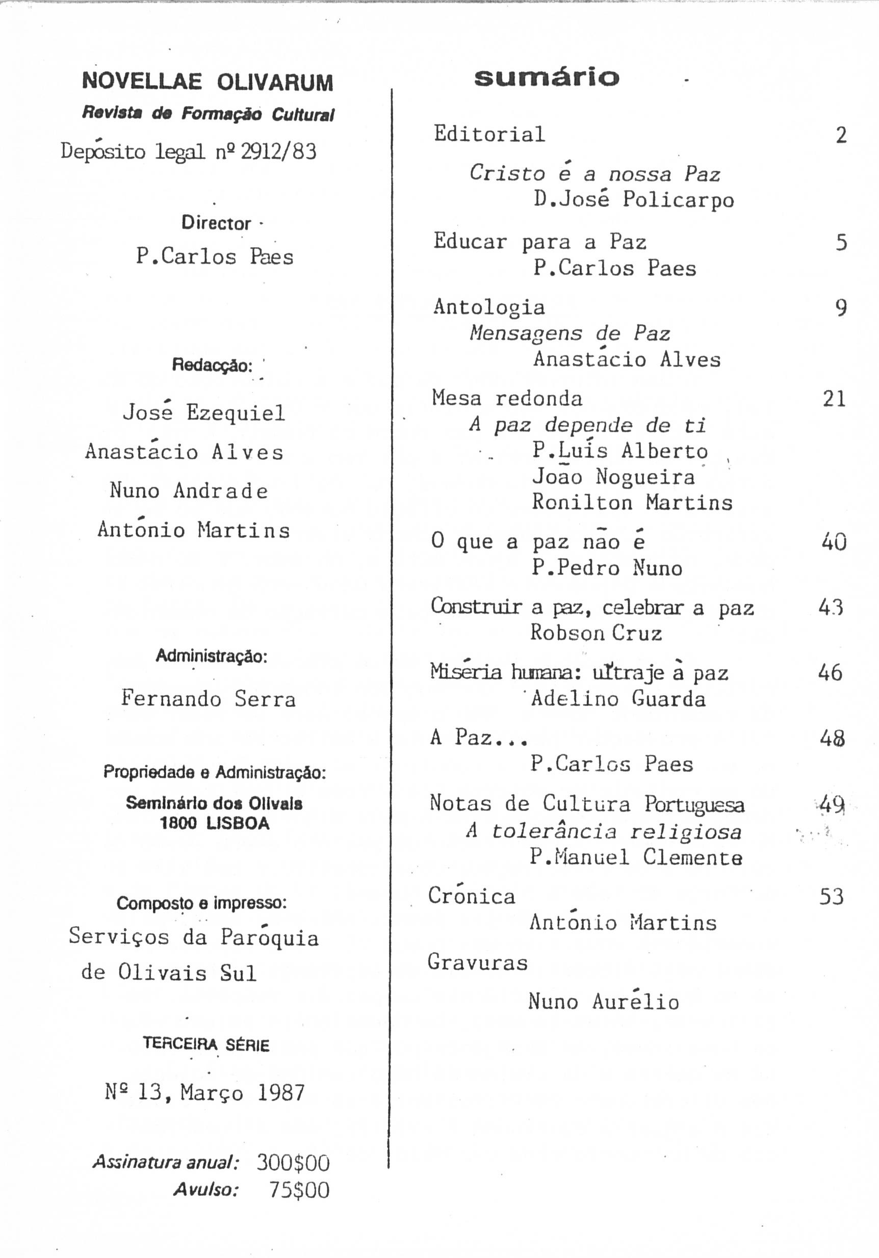 Revista Novellae Olivarum, nº 13 - Março de 1987 (índice)