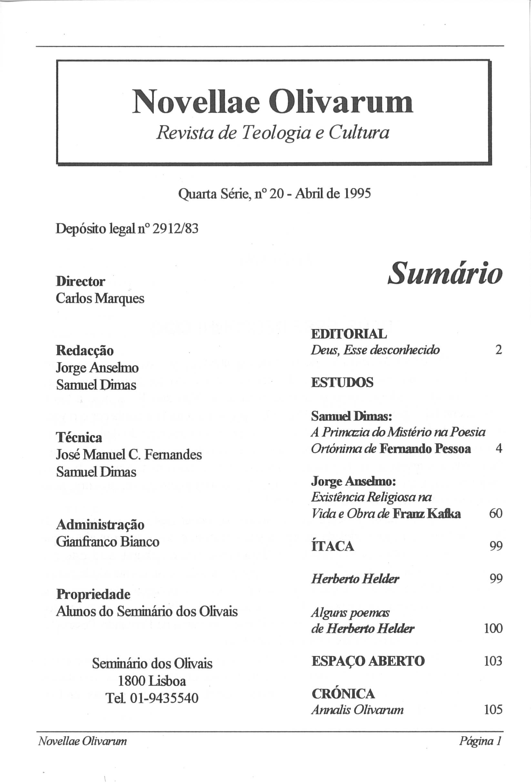 Revista Novellae Olivarum, nº 20 - Abril de 1995 (índice)