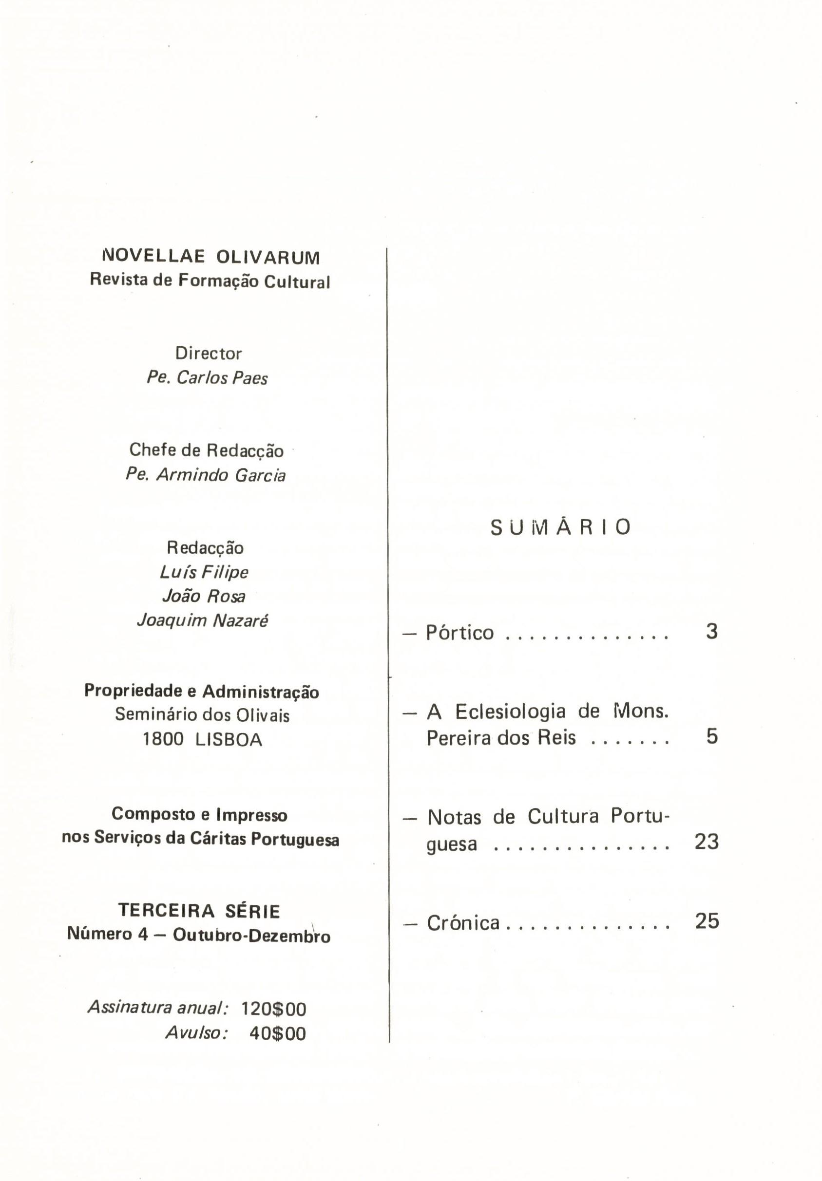 Revista Novellae Olivarum, nº 4 - Outubro/Dezembro de 1982 (índice)