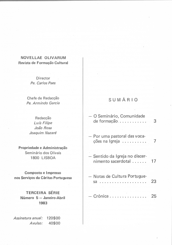 Revista Novellae Olivarum, nº 5 - Janeiro/Abril de 1983 (índice)