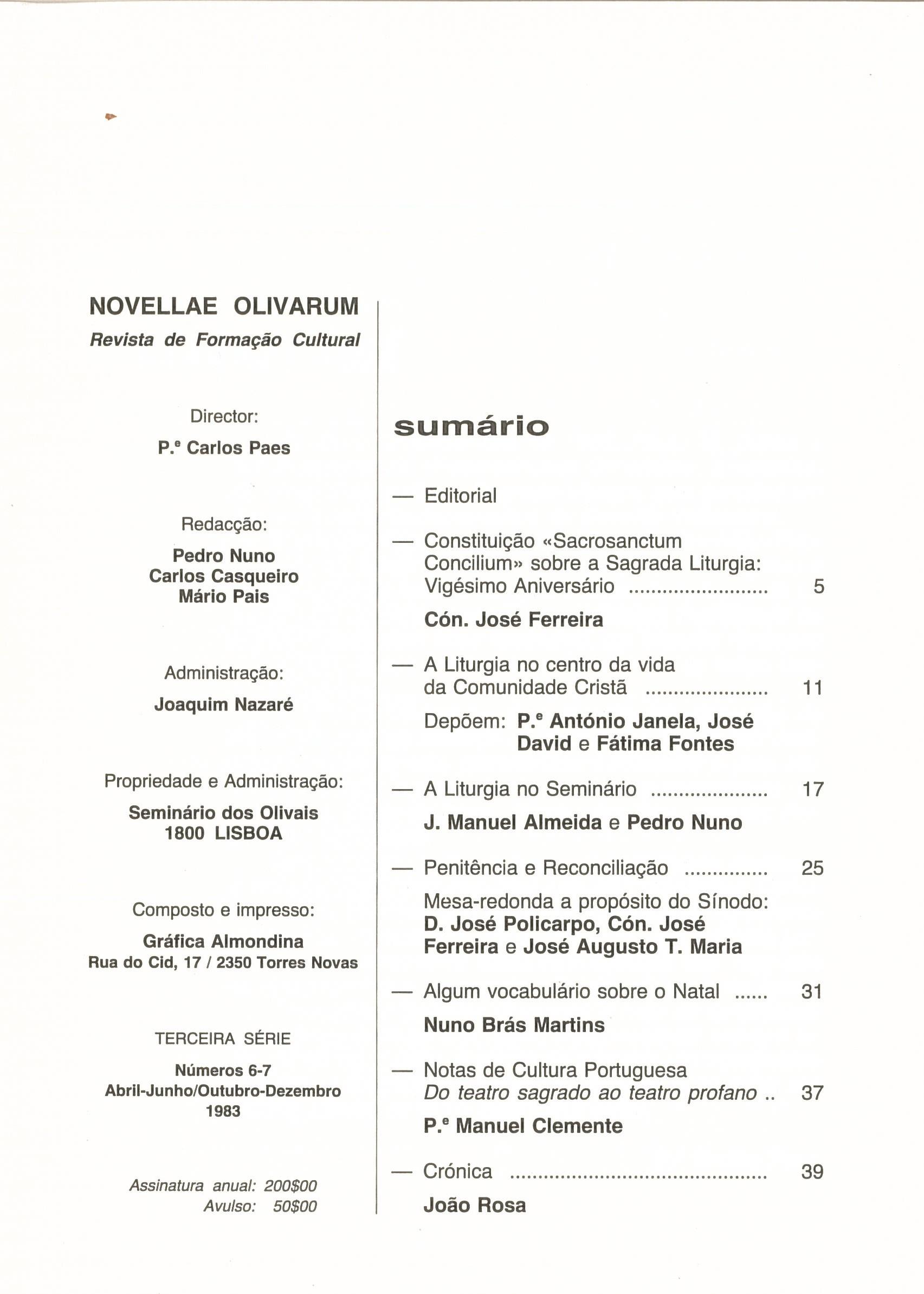 Revista Novellae Olivarum, nº 6 e 7 - Dezembro de 1983 (índice)