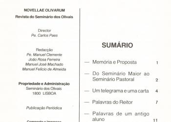Revista Novellae Olivarum, nº 1 - Dezembro de 1981 (índice)