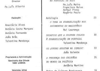 Revista Novellae Olivarum, nº 14 - Dezembro de 1988 (índice)