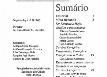 Revista Novellae Olivarum, nº 15 - Dezembro de 1989 (índice)