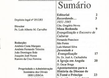 Revista Novellae Olivarum, nº 16 - Julho de 1990 (índice)