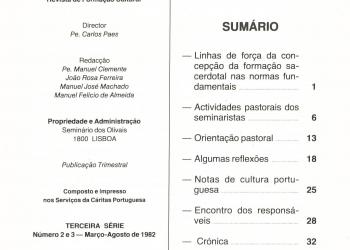 Revista Novellae Olivarum, nº 2 e 3 - Março/Agosto de 1982 (índice)